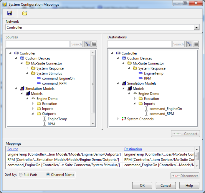 System Configuration Mappings for the Engine Demo Sample Project (used with VeriStand 2013)